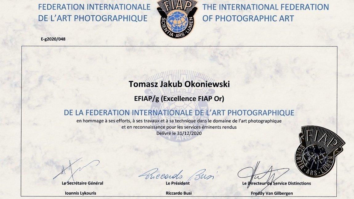 Tomasz Okoniewski z tytułem Wybitnego Artysty FIAP Gold (EFIAP/g)